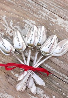 Christmas Spoon Set 6 Hand Stamped Spoons by BeachHouseLiving, $54.00