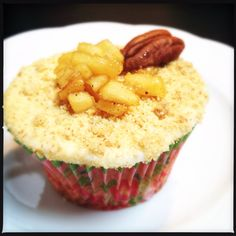 Caramel-Apple Cheesecake Cupcake with Pecan Nuts