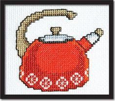 Retro Orange Teakettle Cross Stitch Pattern Instant Download