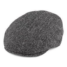 Failsworth Hats Stornoway Harris Tweed Flat Cap - Grey