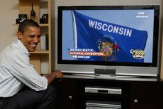Wisconsin flag in US President Obama photomontage TV