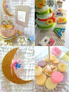 Love You to the Moon and Back Baby Shower Ideas - Pretty My Party #baby #shower #ideas #gender #neutral