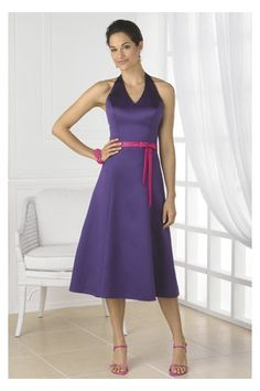 Gorgeous Violet Bridesmaid Dress with Halter and Thin Pink Sash