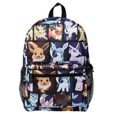 Pokemon Eevee Evolution Characters Backpack Hot Topic ($28) ❤ liked on Polyvore featuring bags, backpacks, zip bag, zipper bag, print backpacks, print bags and padded bag