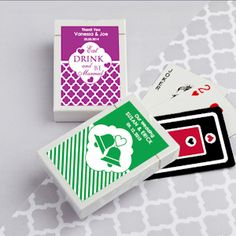 Simply Stylish Personalized Playing Cards (FashionCraft 6769ND) | Buy at Wedding Favors Unlimited (http://www.weddingfavorsunlimited.com/simply_stylish_personalized_playing_cards.html).