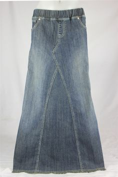 Pearly Vintage Long Jean Skirt, Sizes 6-18 *BACK AGAIN*: theskirtoutlet.com