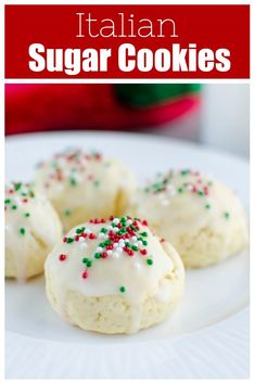 Italian Sugar Cookies – soft lemon sugar cookies with a lemony glaze and sprinkles on top! These are a Christmas favorite and are so cute in cookie tins.