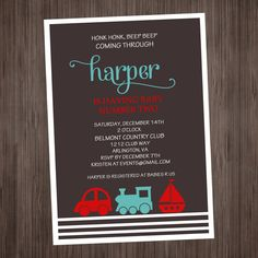Transportation - sail boat - car- train Invitation Printable - Baby Shower or Birthday on Etsy, $8.00