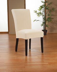Stretch Velvet Bone Dining Chair Slipcover. Soft velvety surface, form fit slip cover upholster for dining room chair, beautiful interior design, chic home decor