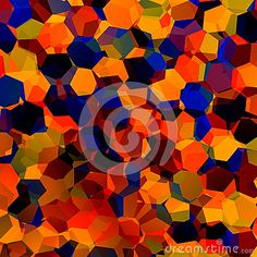 Abstract Colorful Chaotic Geometric Background. Generative Art Red Blue Orange Pattern. Color Palette Sample. Hexagonal Shapes.