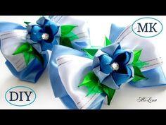 Бантики с цветком канзаши, МК / DIY Ribbon Bows with Kanzashi Flowers / DIY…