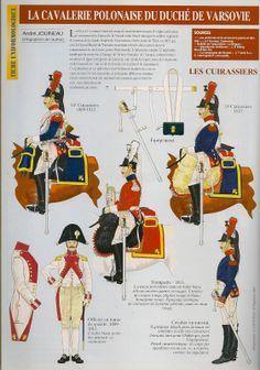 Duchy of Warsaw Cuirassiers by Andre JOUINEAU- Top Left to bottom Right Trooper 14th Cuirassiers 1809-12, Trooper 14th Cuirassiers 1813, Trumpeter 1813,  Officer in Tenue de Sortie 1809-1812 & Trooper in Surtout