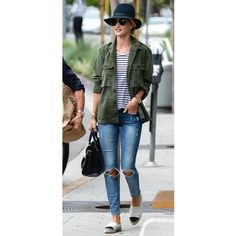 It's In the Jeans: Inspiring Celebrity Denim Rosie Huntington-Whiteley elevates her striped t-shirt and Paige jeans with fun accessories including Chanel espadrille flats and a Rag & Bone fedora.  Photo Credit: Splash