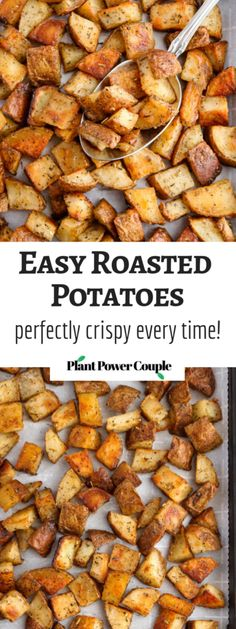 Roasted Potatoes Easy Roasted Potatoes - vegan, gluten-free, and consistently on-point!Easy Roasted Potatoes - vegan, gluten-free, and consistently on-point! Easy Roasted Potatoes, Roasted Potato Recipes, Easy Potato Recipes, Side Dish Recipes, Roasted Potatoes Breakfast, Oven Potatoes, Crispy Roast Potatoes, Healthy Potatoes, Food Dinners