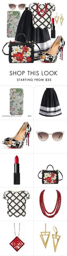 """""""Black and White with Red and Floral"""" by cricketdiane ❤ liked on Polyvore featuring Chicwish, Christian Louboutin, Gucci, NARS Cosmetics, Dolce&Gabbana, Lipsy and Burberry"""