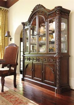 North Shore Traditional Dark Brown Wood Glass China Cabinets