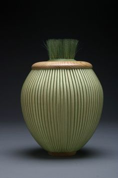 Darryl & Karen Arawjo, basketmakers, Finely woven of clear or colored monofilament over hand split white oak and hickory,