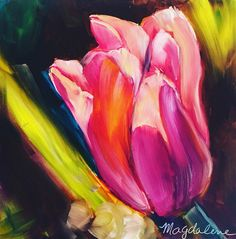 Pink Elegance Tulip Original Oil Painting on a 10x10 Gesso board panel.