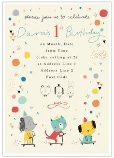 Alex Willmore - invites 1st birthday party