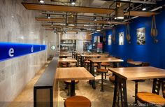 single feature striped painted floor restaurant design - Google Search