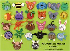 ABC Bottle cap Animal Magnet Craft www.daniellesplace.com