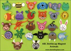 ABC Animal Bottle Cap Magnet Craft (hmm I only have green caps for the frog but this is a cute idea)