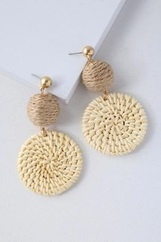The Lulus Cullen Cream Woven Earrings are simply chic as can be! Woven raffia medallions dangle elegantly from round, rope-wrapped charms. Earrings measure 2.5 #HoopEarrings