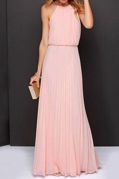 Spaghetti Strap Solid Color Chiffon Maxi Dress