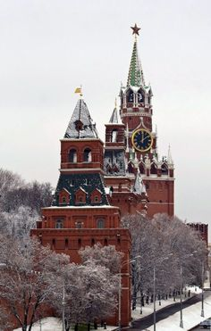 Towers of the Moscow Kremlin in winter.