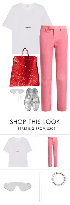 """Gucci pink leather pants and Celine bag with Louis Vuitton shoes"" by hugovrcl ❤ liked on Polyvore featuring Yves Saint Laurent, Gucci, Emilio Pucci and Jennifer Fisher"