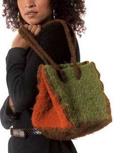 RUBIC    Our cubic bag is composed of knit panels of brightly colored Ultra® Alpaca, then felted to create a sturdy, eye-catching tote.
