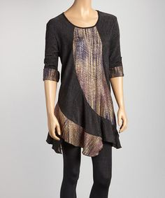 Take a look at this Black & Gold Wave Swing Tunic by Come N See on #zulily today!