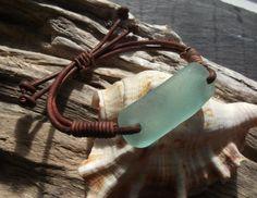 Aqua Sea Glass  Bracelet  Seaglass Leather   by byNaturesDesign, $16.00