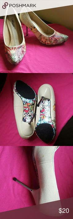 Ed hardy heels Super cute ed hardy koi fish tattoo heels  3 inches Worn one time Little stain on side of left shoe could possibly be removed, shown in third picture. Ed Hardy Shoes Heels