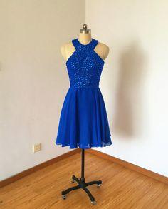 Halter Cobalt Blue Chiffon Short Homecoming Dress 2016