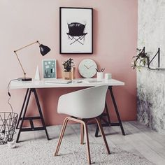 Pink and grey together ☑️ #workplace #pinkwall #interior #interordesign #office #inredning