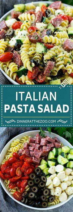 Italian Pasta Salad Recipe Posted By Easy Pasta Salad Recipe, Easy Salad Recipes, Appetizer Recipes, Dinner Recipes, Healthy Recipes, Delicious Appetizers, Rotini Pasta Recipes, Breakfast Recipes, Comida Fusion