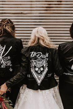 Til Death custom leather jacket for alternative rock Bride Renewal Wedding, Fall Wedding, Dream Wedding, Witch Wedding, Edgy Wedding, Wedding Goals, Wedding Beauty, Rocker Wedding, Custom Leather Jackets