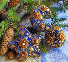 Beautiful embroidered Christmas Ornaments