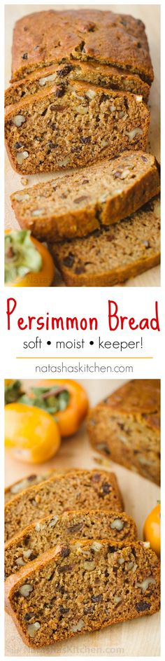 This Persimmon Bread Recipe is a keeper (in a make again and again sort of way)! This persimmon recipe is amazing! Soft, moist, and every slice is studded with walnuts and raisins | natashaskitchen.com
