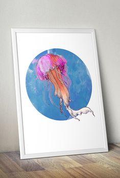 Plakat - ilustracja akwarelowa MEDUZA 50x70