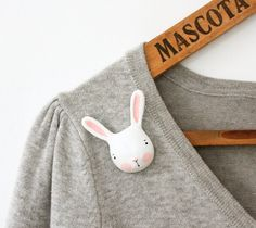 Bunny brooch - Paper clay animal pin by sweetbestiary