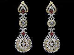 Indian Bridal Jewelry CZ AD Bollywood Fashion Long Earrings Swam Ear Drops 211