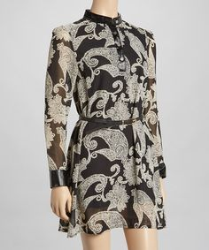 Another great find on #zulily! Black & Cream Paisley Belted Dress by Funky People #zulilyfinds