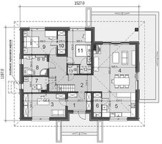 Rzut parteru projektu Heros bez garażu Floor Plans, How To Plan, Agriculture, Flats, Floor Plan Drawing, House Floor Plans