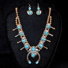 Petit-Navajo-Sterling-Silver-Turquoise-Squash-Blossom-Necklace-w-Earrings