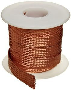 "Flat Bare Copper Braid, Bright, 1/4"" Diameter, 25' Length (Pack of 1) by Small Parts. $14.60. Used as ground straps, shunts, or anywhere flexibility is a must."