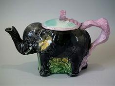 Victorian,-circa-1870 Majolica Elephant Teapot