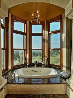 Luxury bath with a view.