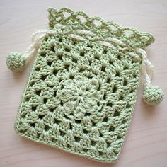 Crocheted Drawstring Pouch - Green. via Etsy.: